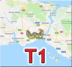 t1 tramvay durakları