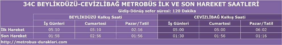 34c metrobüs saatleri